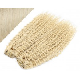 "20"" (50cm) Deluxe curly clip in human REMY hair - platinum"