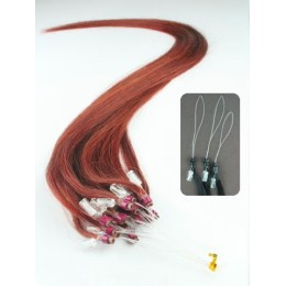 """24"""" (60cm) Micro ring human hair extensions - copper red"""