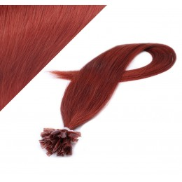 """20"""" (50cm) Nail tip / U tip human hair pre bonded extensions - copper red"""