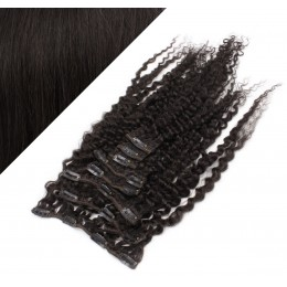 "20"" (50cm) Clip in curly human REMY hair - natural black"