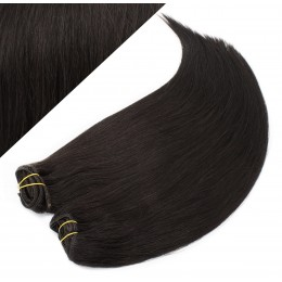 "15"" (40cm) Deluxe clip in human REMY hair - natural black"