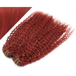 "20"" (50cm) Deluxe curly clip in human REMY hair - copper red"