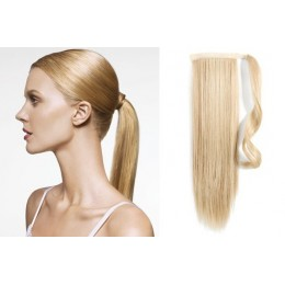 "Clip in human hair ponytail wrap hair extension 20"" straight - the lightest blonde"