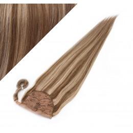 "Clip in human hair ponytail wrap hair extension 20"" straight - dark brown/blonde"