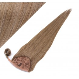 """Clip in human hair ponytail wrap hair extension 24"""" straight - light brown"""