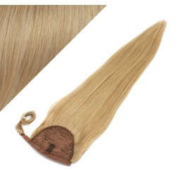 """Clip in human hair ponytail wrap hair extension 24"""" straight - natural blonde"""