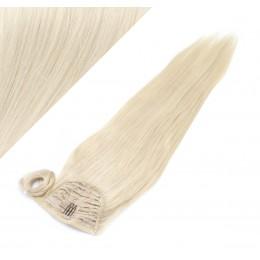 "Clip in human hair ponytail wrap hair extension 24"" straight - platinum blonde"