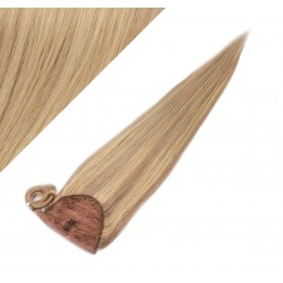 """Clip in human hair ponytail wrap hair extension 24"""" straight - natural/light blonde"""