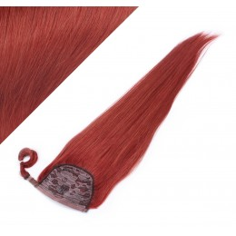 """Clip in human hair ponytail wrap hair extension 24"""" straight - copper red"""