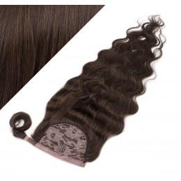 "Clip in human hair ponytail wrap hair extension 20"" wavy - dark brown"