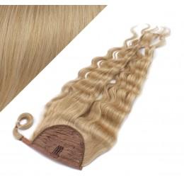 "Clip in human hair ponytail wrap hair extension 20"" wavy - natural blonde"