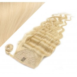 """Clip in human hair ponytail wrap hair extension 20"""" wavy - the lightest blonde"""