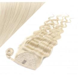 "Clip in human hair ponytail wrap hair extension 20"" wavy - platinum blonde"