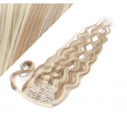 """Clip in human hair ponytail wrap hair extension 20"""" wavy - mixed blonde"""