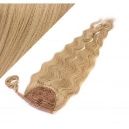"Clip in human hair ponytail wrap hair extension 20"" wavy - light blonde/natural blonde"