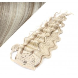 "Clip in human hair ponytail wrap hair extension 20"" wavy - platinum/light brown"