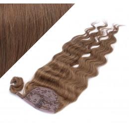 "Clip in human hair ponytail wrap hair extension 24"" wavy - medium brown"