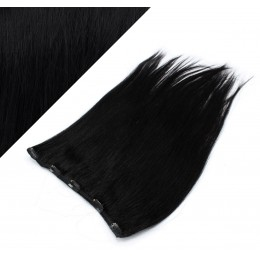 "16"" one piece full head clip in hair weft extension straight - black"