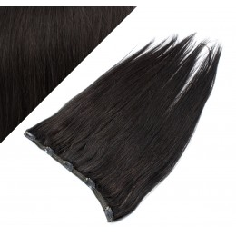 "16"" one piece full head clip in hair weft extension straight - natural black"