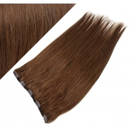 """16"""" one piece full head clip in hair weft extension straight - medium brown"""