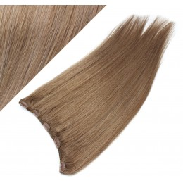"""16"""" one piece full head clip in hair weft extension straight - light brown"""