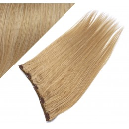 "16"" one piece full head clip in hair weft extension straight - natural blonde"