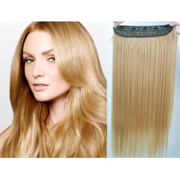 16 inches one piece full head 5 clips clip in hair weft extensions straight – natural blonde