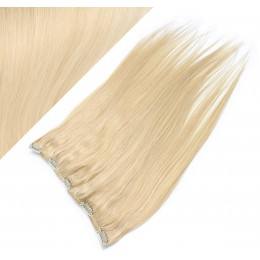"16"" one piece full head clip in hair weft extension straight - the lightest blonde"