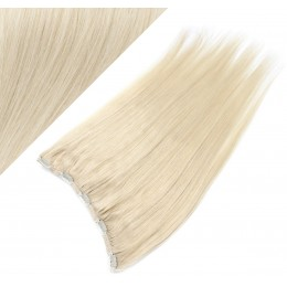 """16"""" one piece full head clip in hair weft extension straight - platinum"""