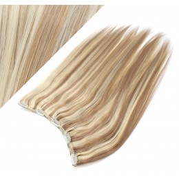 "16"" one piece full head clip in hair weft extension straight - mixed blonde"
