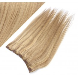 "16"" one piece full head clip in hair weft extension straight - light blonde / natural blonde"
