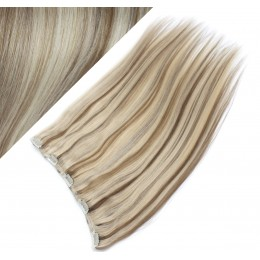 "16"" one piece full head clip in hair weft extension straight - platinum / light brown"