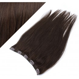 "24"" one piece full head clip in hair weft extension straight - dark brown"