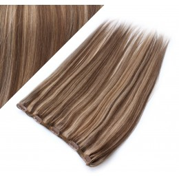 "24"" one piece full head clip in hair weft extension straight - dark brown / blonde"