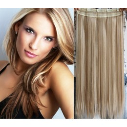 24˝ one piece full head clip in hair weft extension straight – platinum / light brown