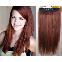 24˝ one piece full head clip in hair weft extension straight – copper red