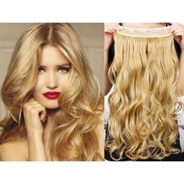 16˝ one piece full head clip in hair weft extension wavy – natural blonde