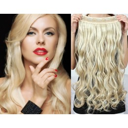 16˝ one piece full head clip in hair weft extension wavy – platinum