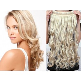 16˝ one piece full head clip in hair weft extension wavy – platinum / light brown