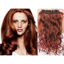 16˝ one piece full head clip in hair weft extension wavy – copper red