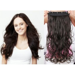 24˝ one piece full head clip in hair weft extension wavy – natural black