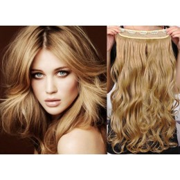 24˝ one piece full head clip in hair weft extension wavy – light blonde / natural blonde