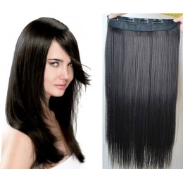24˝ one piece full head clip in kanekalon weft extension straight – natural black