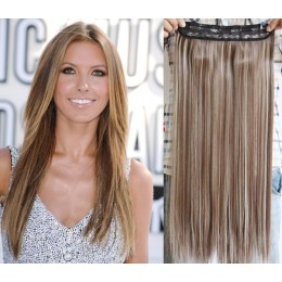 24˝ one piece full head clip in kanekalon weft extension straight – mixed blonde
