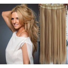 24˝ one piece full head clip in kanekalon weft extension straight – light blonde / natural blonde