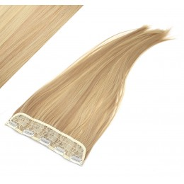"24"" one piece full head clip in kanekalon weft extension straight - light blonde / natural blonde"
