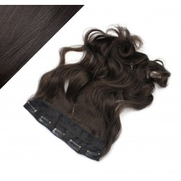 "24"" one piece full head clip in kanekalon weft extension wavy - natural black"