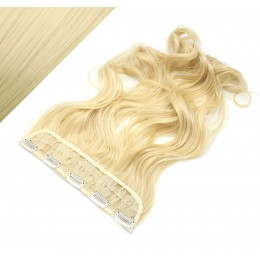 "24"" one piece full head clip in kanekalon weft extension wavy - the lightest blonde"