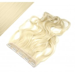 "24"" one piece full head clip in kanekalon weft extension wavy - platinum"