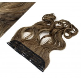 "24"" one piece full head clip in kanekalon weft extension wavy - dark brown / blonde"
